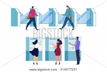 City Subway, Metropolis Metropolitan Station Entrance Equipment Flat Vector. Female And Male Passeng