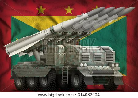 Tactical Short Range Ballistic Missile With Arctic Camouflage On The Grenada Flag Background. 3d Ill