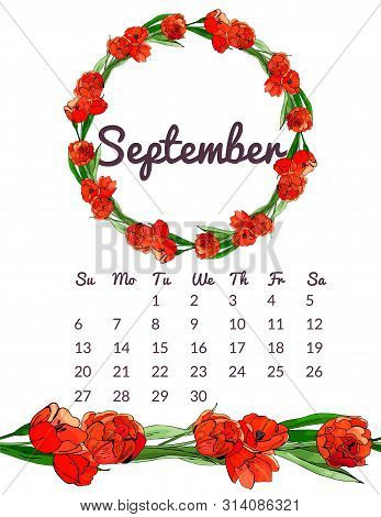 Printable Botanical Calendar 2020 With Wreath And Endless Brush Of Red Tulip Flowers And Leaves. Han