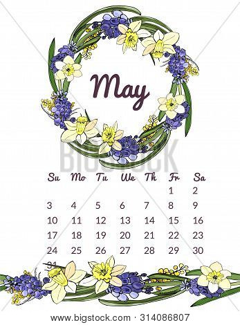 Printable Botanical Calendar 2020 With Wreath And Endless Brush Of Narcissus And Muscari Flowers And