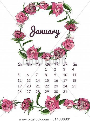 Printable Botanical Calendar 2020 With Wreath And Endless Brush Of Pink Rose Flowers And Leaves. Han