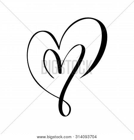 Two Vector Black Hearts Sign. Icon On White Background. Illustration Romantic Symbol Linked, Join, L