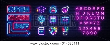 School Icons Set. Back To School Collection Neon Signs. Open Close Bright Sign Boards, Light Banner.