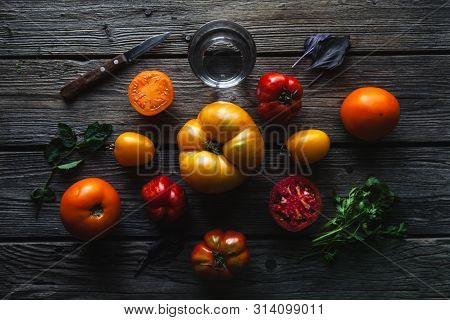 Ripe Red Tomatoes On A Wooden Background, Healthy Food, Vegetables A