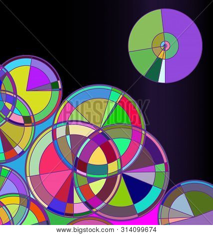 Colored Dark Background Image Of Abstract Discks And Circles