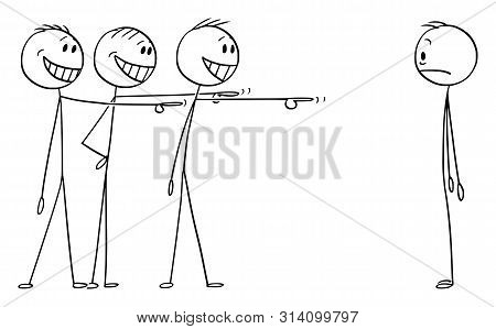 Vector Cartoon Stick Figure Drawing Conceptual Illustration Of Shocked Man Or Businessman Who Made S