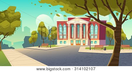 College Building, Educational Institution, School Empty Front Yard With Green Trees, Grass Lawns, Be