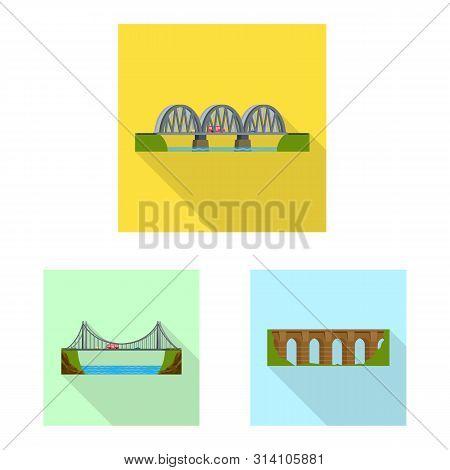 Vector Illustration Of Bridgework And Bridge Sign. Set Of Bridgework And Landmark Stock Symbol For W
