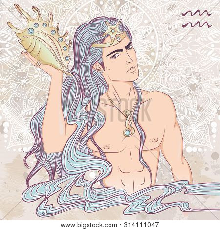 Zodiac. Vector Illustration Of The Astrological Sign Of Aquarius As A Man With A Naked Torso. The Il