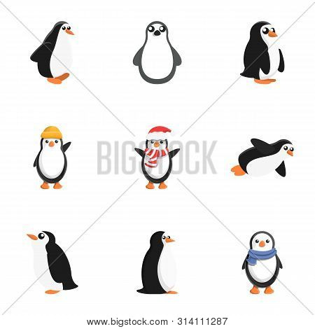 Penguin Baby Icon Set. Cartoon Set Of 9 Penguin Baby Vector Icons For Web Design Isolated On White B