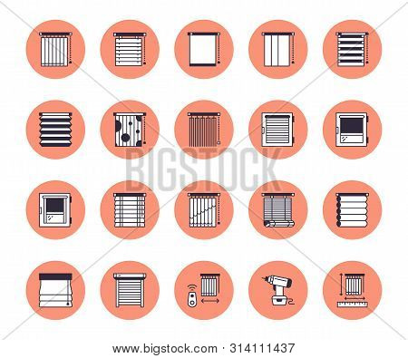 Window Blinds, Shades Line Icons. Various Room Darkening Decoration, Roller Shutters, Roman Curtains