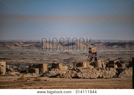 Abandoned Iraqi Military Desert Outpost With Watch Tower