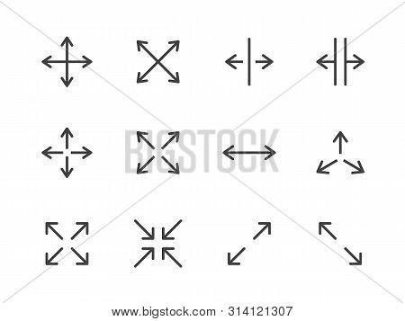 Expand Arrows Minimal Line Icon. Vector Illustration Flat Style. Included Icons As Diagonal Increase