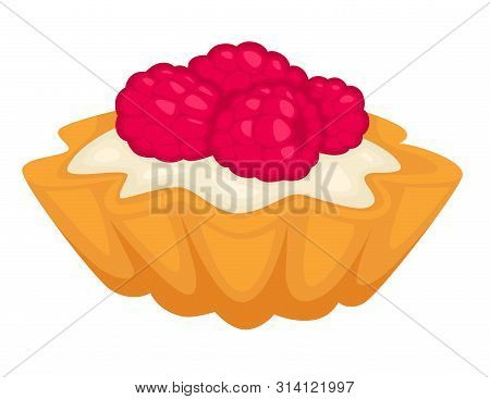 Tartlet With Mousse And Creamy Cheese Snack Vector