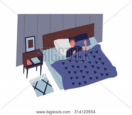 Cute Young Man Sleeping In Bedroom At Night. Male Character Lying In Comfortable Bed And Falling Asl