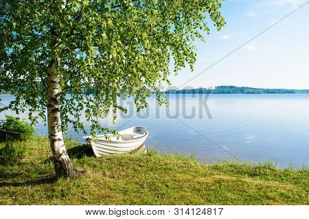 White Rowing Boat, Tied To A Birch Tree, On The Shore Of A Lake Somewhere In The Depths Of Finland,