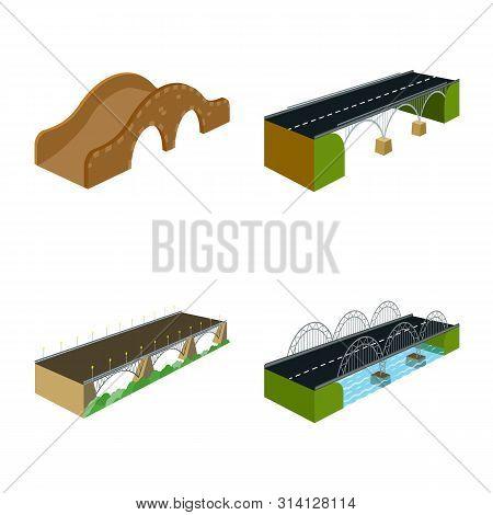 Vector Illustration Of Bridgework And Architecture Logo. Collection Of Bridgework And Structure Stoc