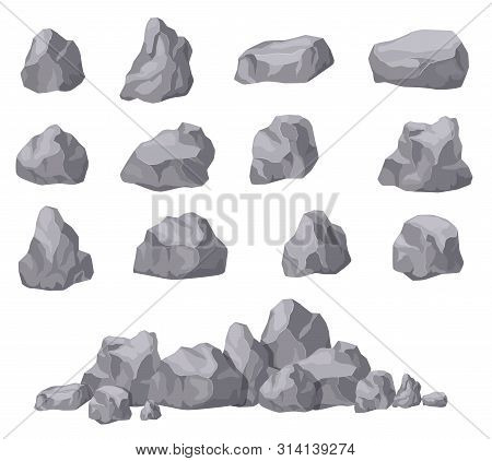 Cartoon Stones. Rock Stone Isometric Set. Granite Boulders, Natural Building Block Shapes. 3d Decora