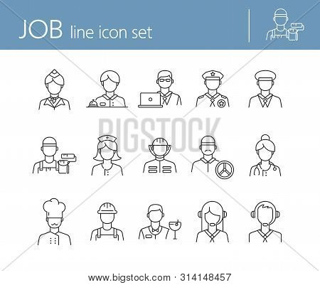 Job Icons. Set Of Line Icons On White Background. Call Center Operator, Manager, Policeman. Professi