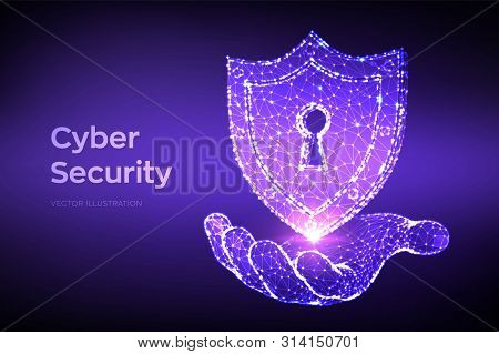 Security Shield. Cyber Security. Shield With Keyhole Icon In Hand. Protect And Security Of Safe Conc