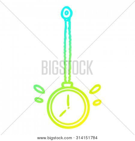 cold gradient line drawing of a swinging gold hypnotist watch
