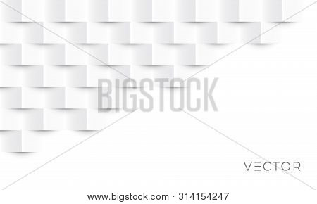 White Geometric Texture Pattern Background. Abstract 3d Square Paper Creative Graphic Design. Modern
