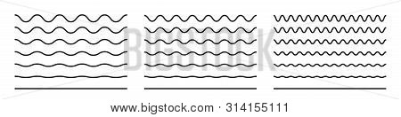 Wave Line And Wavy Zigzag Pattern Lines. Vector Black Underlines, Smooth End Squiggly Horizontal Cur