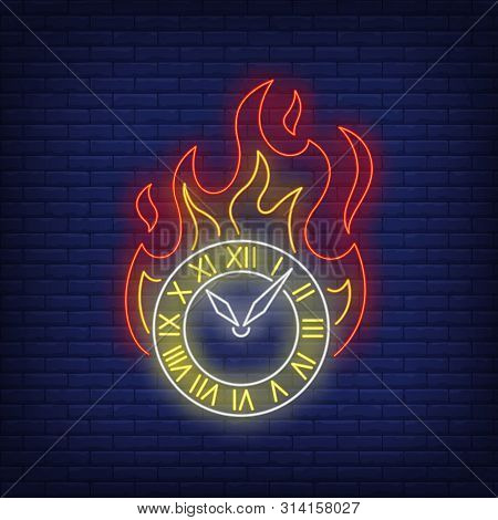Burning Clock Neon Sign. Watch, Flame, Fire. Time Concept. Vector Illustration In Neon Style, Glowin