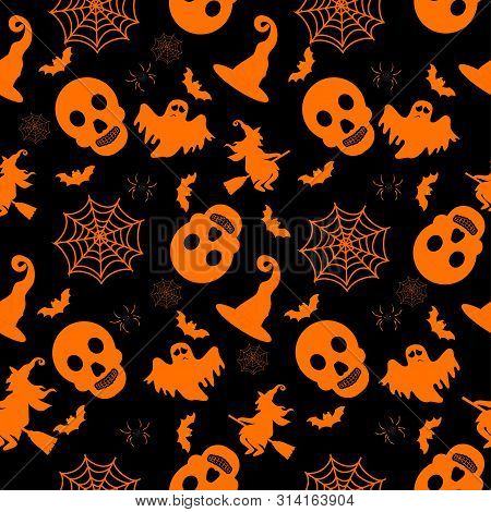Abstract Seamless Halloween Pattern For Girls Or Boys. Creative Vector Background With Witch, Bat, G