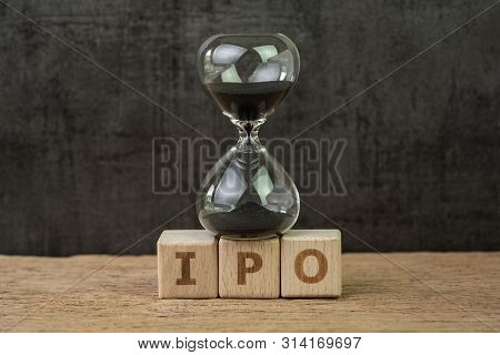 Ipo, Initial Public Offering For Company To Buy And Sell In Stock Market, Sandglass Or Hourglass On