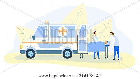 Cartoon Emergency Doctors Paramedics Transporting Victim On Medical Stretcher To Hospital. Flat Mode