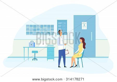 Flat Cartoon Female Patient On Ent Specialist Consultation. Man Doctor In Uniform With Check List In