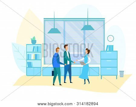 Office Meeting And Business Situation Illustration. Secretary Meets Partners. Top Managers, Supervis