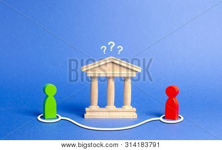 Two Figures Of People Contact In Bypassing The State Building Or Bank. Direct Negotiations And An Ag