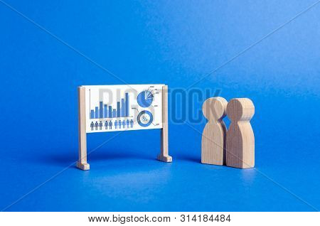 People Stand At The Whiteboard With Graphs And Data. Analytics And Processing Of Financial Data And