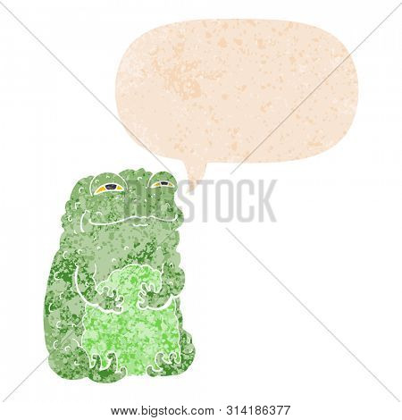 cartoon smug toad with speech bubble in grunge distressed retro textured style