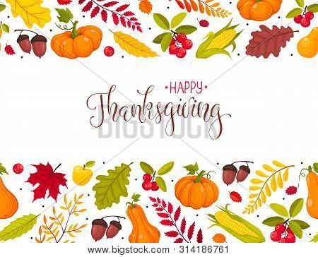 Happy Thanksgiving Greeting Card Template. Horizontal Autumn Composition With Colorful Pumpkins, Lea