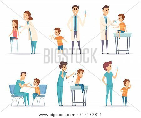 Kids Vaccinating. Doctor Gives Injection To Childrens Medical Healthcare Vector Concept Cartoon Illu
