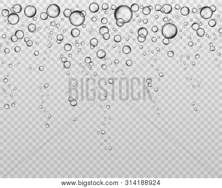 Bubbles At Water Surface. Fizzy Underwater Texture, Soda Bubble Flow. Bubbling Champagne Air Sparkle