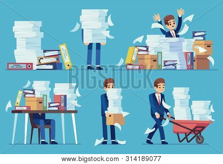 Unorganized Office Work. Accounting Paper Documents Piles, Disarray In Files On Accountant Table. Ro