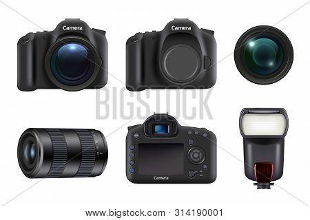Digital Camera. Photo Studio Professional Equipment Dslr Camera Lens And Flashes Vector Realistic. I
