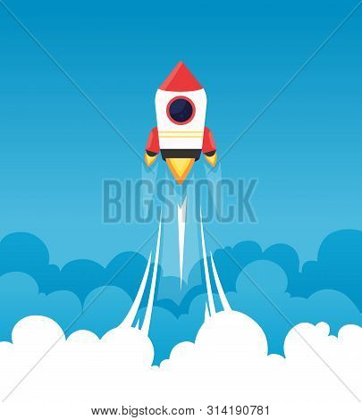 Startup Background. Rocket In Cloudy Fluffy Sky Goes To The Moon Business Concept Of Launch Startup
