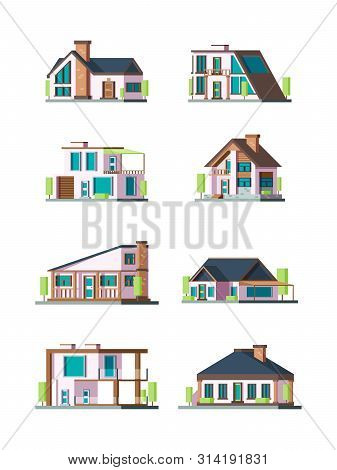 Modern Cottages. Villa New Living Home Residence Townhouse Vector Flat Collection. Illustraion Of Fa