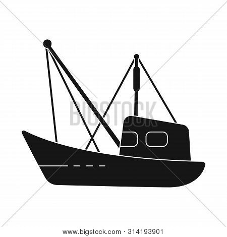 Isolated Object Of Fishery And Trawler Sign. Set Of Fishery And Naval Vector Icon For Stock.