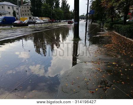 07/29/2019 Kiev Ukraine, Spartak Stadium. Flood After The Rain.