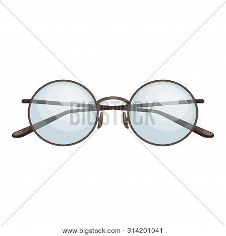 Fashionable Round Glasses With Diopters. Vision Correction. Fashion Accessory. Flat Vector Illustrat