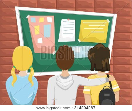 Students Stand In Front Of The Bulletin Board At School. Flat Vector Illustration In Cartoon Style.