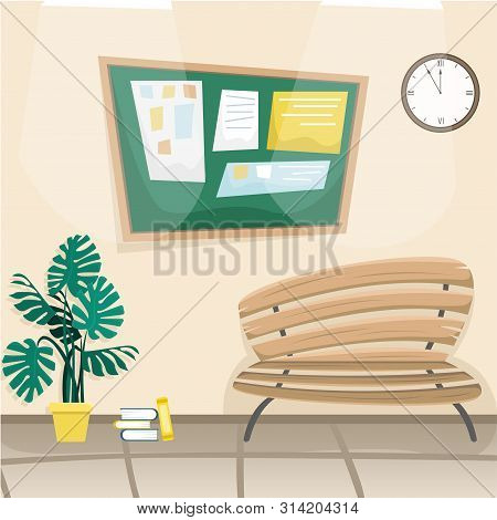School Hallway With A Bulletin Board, A Bench And A Decorative Plant. Flat Vector Illustration. Cart