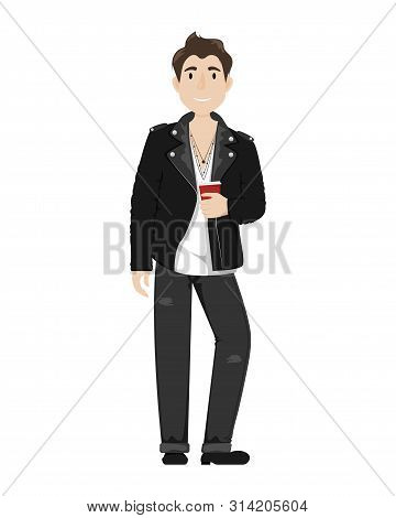 Fashionable Young Guy In A Leather Biker Jacket, Black Jeans And A Paper Cup Of Coffee.