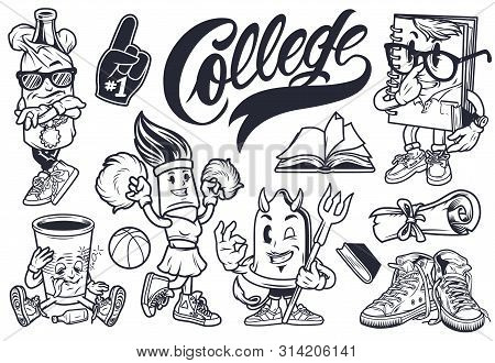 Vintage College Cute Characters Set With Bottle In Paper Bag Funny Notebook Drunk Cup Brush Cheerlea